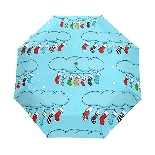 MONTOJ - Calcetines navideños de Dibujos Animados, Tres Pliegues, protección UV con botón de Apertura automática
