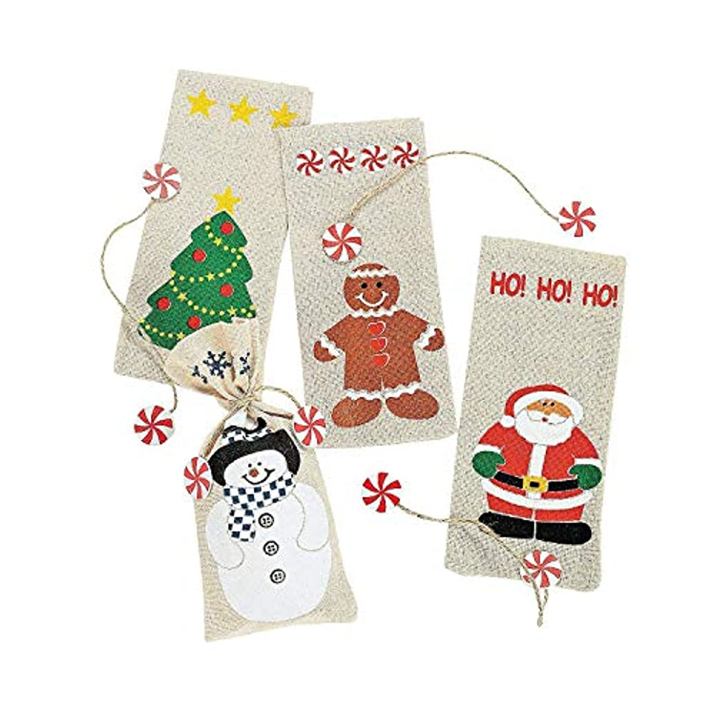 12 Canvas Holiday Gift Bags and Ties Set