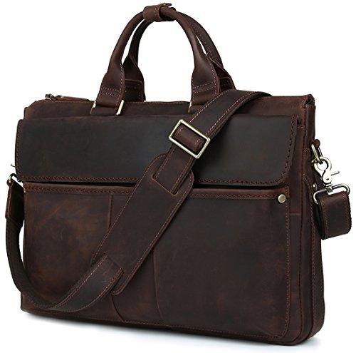 """Iswee Men Leather Briefcase Messenger Bag 16"""" Laptop Case Tote Shoulder Bag Attache Case(Dark Brown)"""