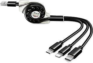 كابل USB قابل للسحب 3 في 1 حيث به مايكرو USB لايفون X و USB ون بلس 6 و كابل شحن من النوع C