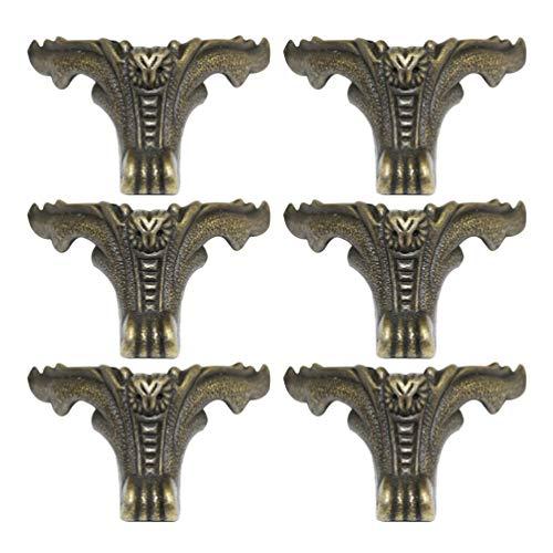 GARNECK 6Pcs Caja de Latón Antiguo Patas Pies Caja de Madera Protector de Esquina Muebles Decorativos Patas Soportes Hardware para Joyería Cofre Caja de Regalo Sofá Escritorio (Verde