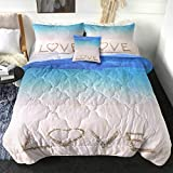Sleepwish Beach Themed King Comforter Sets Blue Sandy Beach Bedding Sets with Comforter 4 Piece Love Lettering Bed Set for Couple Wedding Anniversary Bedroom Decor