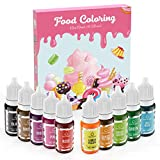 Colorante Alimentario Liquido Set 10×10ml, Abree Food Coloring Alta Concentración Colorante Reposteria para Colorear Bebidas Macaron Fondant Pasteles Galletas