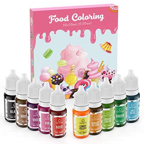Colorante Alimentario Liquido Set 10×10ml, Abree Food Coloring Alta Concentración Colorante Reposteria...