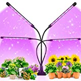 EZORKAS Grow Light, 80W Tri Head Timing 80 LED 9 Dimmable Levels Plant Grow Lights for Indoor Plants with Red Blue Spectrum, Adjustable Gooseneck, 3 9 12H Timer, 3 Switch Modes