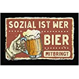 MoonWorks® Paillasson avec inscription en allemand « Sozial ist wer Bier mitbring» Satire Parodie Chope à bière antidérapante et lavable Noir 60 x 40 cm