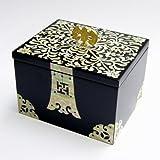 Joyero con Madreperla Diseño de Flores Madera Negra Lacrada Bisutería Cofre de Regalos y Tesoros Anillos Collares Caja Organizador