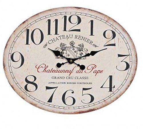 osters muschel-sammler-shop Maritime Holz-Wanduhr - Shabby Look- antik-Look - analoge Uhr - Nostalgie-Uhr- Antikoptik -beige oval 49x39cm Durchmesser