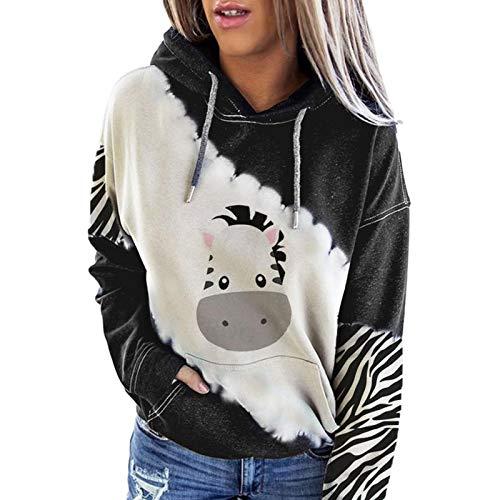 Your New Look Sudadera de bolsillo larga con estampado de vaca y sudadera con capucha para mujer gris XXL