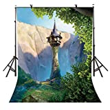 EOA 5(W) x7(H) FT Cartoon Princess Tower Backdrop Fairytale Story Rapunzel Photography Background Baby Shower Children Kids Birthday Party Events Cake Table Decoration Photoshot Props