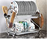YOGI ENTERPRISE® Stainless Steel S Shape 2 Layer Kitchen Dish Drainer Organizer Storage Rack - Plate, Cutlery Utensil, Fruits and Vegetable Drying Drain and Storage Stand