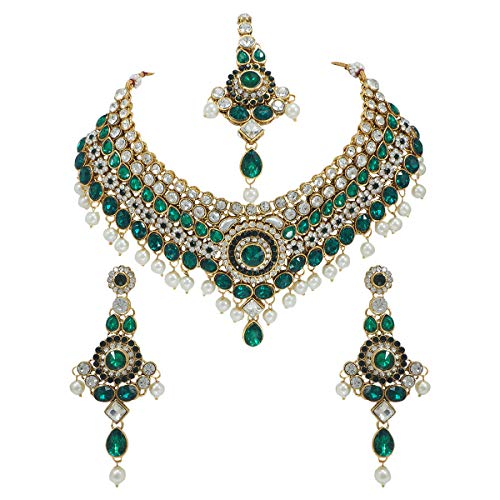CROWN JEWEL Bollywood Ethnic Gold Plated Indian Fashion Bridal Jewelry Necklace Earring Set for Women (Green)