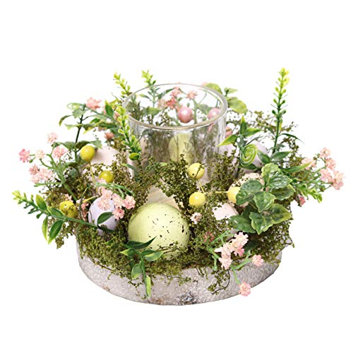 HanOBC Easter Egg Creative Candle Holder Spring Floral Tea Light Holder Glass Tealight Holder with Wreath Base for Spring Summer Easter Home Table Centerpiece Decor