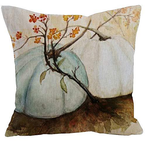 KACOPOL Watercolor Autumn Pumpkin Throw Pillow Covers Cotton Linen Pillowcase Cushion Cover Autumn Halloween Thanksgiving Home Office Decorative Square 18' X 18' (Blue Gray & White Pumpkin)