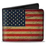 Buckle-Down unisex adults Buckle-down Pu Bifold - American Flag Weathered Bi Fold Wallet, Multicolor, 4.0 x 3.5 US