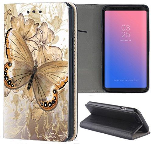 Samsung Galaxy S3 / S3 Neo Hülle Premium Smart Einseitig Flipcover Hülle Samsung S3 Neo Flip Case Handyhülle Samsung S3 Motiv (1400 Schmetterling Blumen Abstract)