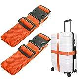 Luxebell da viaggio cinghie bagagli imballaggio cintura valigia cinghie regolabile sicurezza 60 x 200cm, 2-pack(Nero) (Arancione)