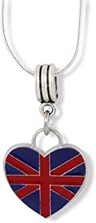 Emerald Park Jewelry British Flag Necklace | British on a Heart (Large) Charm Snake Chain Pendant