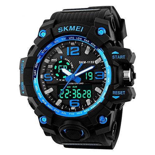 1155 uomini LED digitale orologio al quarzo Dual Time Day allarme luce resistenza all'acqua orologio da polso (blu)