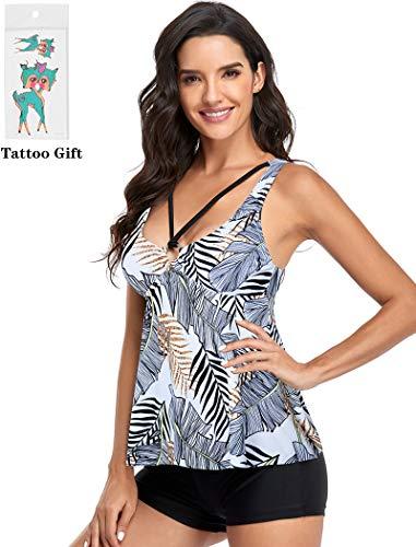 Tankini Traje de Baño Mujer Dos Piezas Volantes Bañador Correa Halter Impresión Vestido Pantalones Cortos Conjuntos (Negro/Blanco Hoja XL)