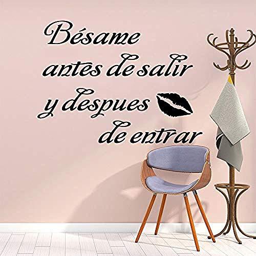 Los labios de 43X57 cm se besan con frases de arte en español, decoraciones para el hogar, calcomanías extraíbles, póster de pared impermeable, papel pintado de vinilo de material de PVC