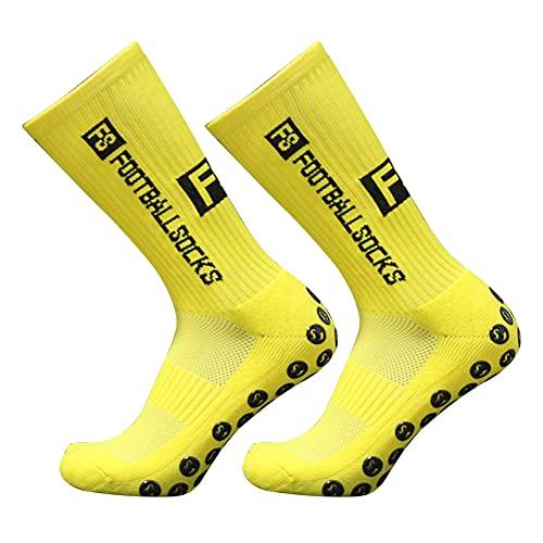 CRGANGZY Calcetines de fútbol Antideslizantes Redondos de Silicona con succión Calcetines de Entrenamiento Deportivo Calcetines de compresión para Deportes al Aire Libre (Amarillo)