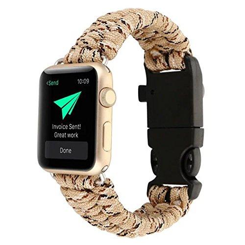 BCHSCB Für Apple Watch Series 1/2/3/4 42mm, High Strength Nylon Rope Bracelet Watch Ersatzgurt Band mit Kompass. (Khaki)