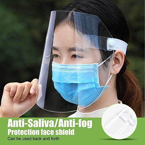 Elastic Band and Comfort Sponge Anti,Dust,Pollution,Fog,Anti-Spitting Isolation 5 Packs Reusable Face Shield FDA Approved Face Shield Protect Eyes and Face with Clear Open Protective Film