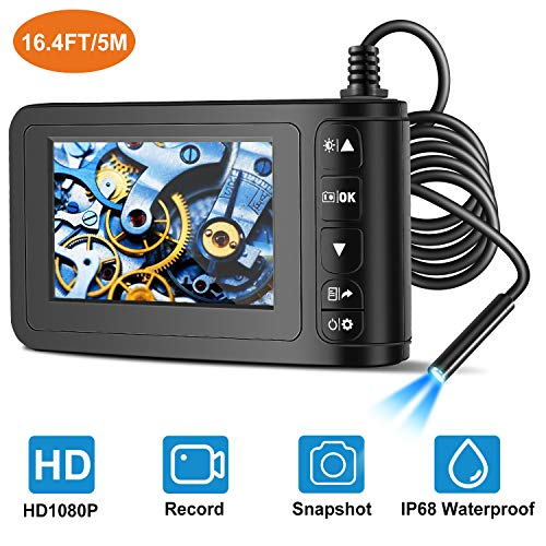 Industrial Endoscope with 4.3 inch LCD Color Screen 2MP Snake Camera 8mm Borescope Camera HD 1080P Waterproof Inspection Cameras with 6 Adjustable LED Lights (5m/16.4ft)