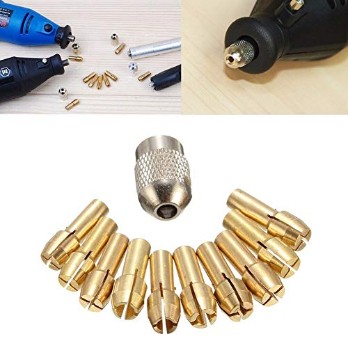 10Pcs 0.5-3.2mm Brass Drill Chuck Collet Bits 4.3mm Shank For Dremel Rotary Tool