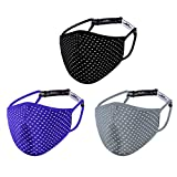 Reusable Sports Men Face Mask Women, Workout Running Athleta Exercise Gym Adjustable Breathable Washable Cotton Fabric Cloth Cover Nose Wire, Polyester Dust Spandex 3 Layer Facemask Black Blue Gray