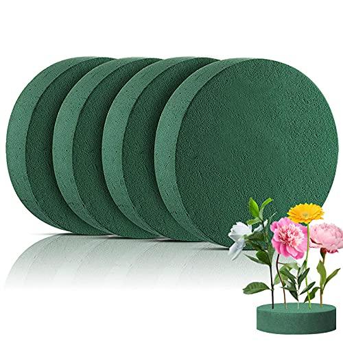 Hileyu 4 pièces Blocs de Mousse Florale Ronds Mousse Florale Artificielle pour compositions Florales 4 x 16,5 cm Bloc de Mousse pour Fleurs fraîches Mousse de rempotage pour Artisanat, Mariage