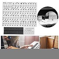 カラーピアノラベル、37/49/61/88キーピアノ用楽譜ステッカー初心者向け(Black)