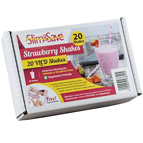 20 Strawberry VLCD Meal Replacement Diet Shakes by Slim & Save