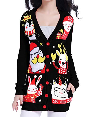v28 Ugly Christmas Sweater for Women Reindeer Funny Merry Knit Sweaters Cardigan (3XL, Happy Cardigan Black)