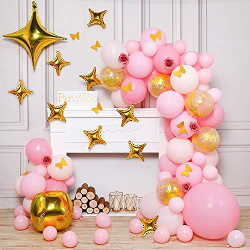 PartyWoo Roze En Gouden Ballonnen, Pak Van 100 Stuks Roze Ballonnen, Gouden Confetti Ballonnen, Goudfolie Ballon, Sterballonnen, Papieren Vlinders, Roze Kunstbloem Voor Roze En Gouden Feestdecoraties