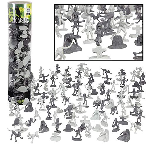 Zombie Army Action Figures - Big Bucket of 100 Zombies with 14 Unique Sculpts - Zombies, Pets, Graves, and Humans for Playtime, Decoration and Halloween Parties