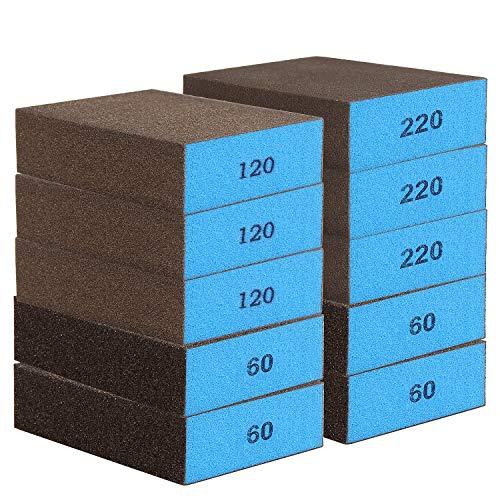 AMIGOB 10er Schleifschwamm/Schleifblock Grob/Mittl/Fein Trockenschleifblock, 4er * Korn 60 + 3er * Korn 120 + 3er * Korn 220,10 * 7 * 2,5cm, Geeignet für Schleifen und Polieren