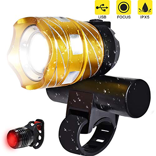 LETOUR Rechargeable LED Bike Light Perfect Commuter Bicycle Headlight Tail Light Water Resistant Front and Back Rear Light Easy to Install and Fits All Bikes