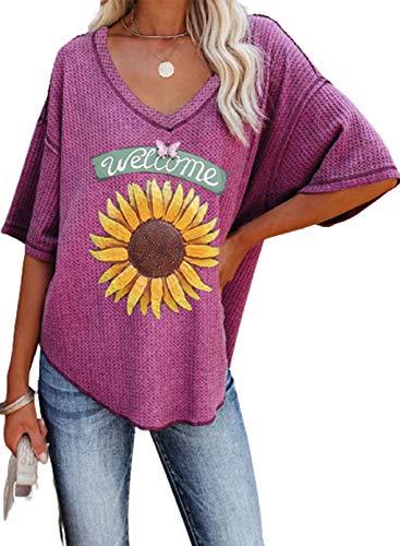 CORAFRITZ Camiseta Casual de Verano para Mujer Camiseta Suelta con diseño de Girasol