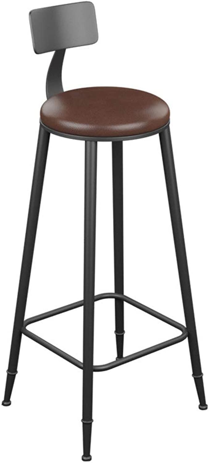 Round Barstool Iron Breakfast Dining Stool for Kitchen Bar Counter Home Commercial Chair High Stool with Backrest and PU Cushion LOFT Industrial Style (Size   Height 85cm)