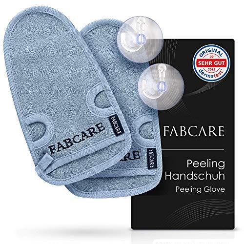 FABCARE Peelinghandschuh - DERMATEST SEHR GUT - 2 Stück - Reinigt Porentief für Körper & Gesicht - Duschschwamm für Peeling & Body Scrub - BONUS 2 Saugnäpfe & Ebook - Massagehandschuh