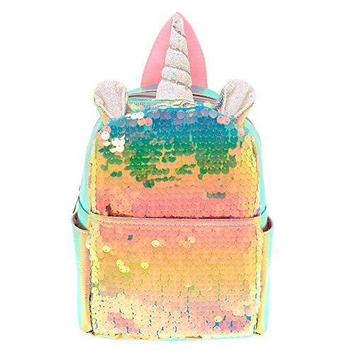 Claire's Mädchen-Rucksack mit Holographischen Pailletten, Einhorn, Pink