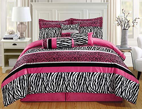 GrandLinen 7 Piece Full Size Hot Pink Black Animal Print Safari Comforter Set. Leopard, Zebra, Velvet Bedding with Accent Pillows and Bed Skirt