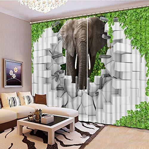 juntop Vorhang Green Leaf, Backstein, Elefant Blackout 3D Vorhänge Für Wohnzimmer Schlafzimmer Vorhänge cortinas Rideaux Maßgeschneiderte größe 1 W300 H269