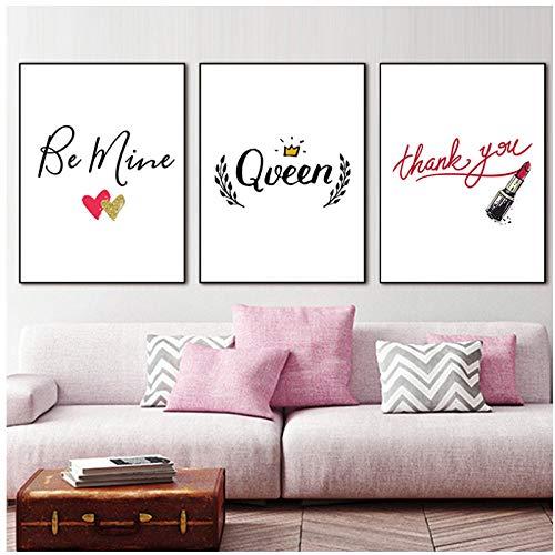 DLFALG Nordic Lippenstift Englisch Satz Mädchen Schlafzimmer Poster Wandkunst Leinwand Malerei Home Bild-40x50cmx3 Kein Rahmen