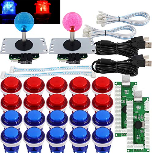 SJ@JX Arcade 2 Player Game Controller Stick DIY Kit LED Buttons MX Microswitch 8 Way Joystick USB Encoder Cable for PC MAME Raspberry Pi Red Blue