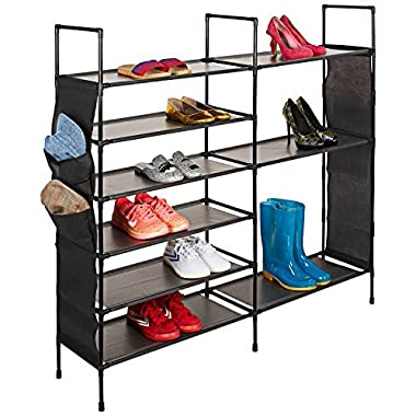 Basics Hardware Free Standing Shoe Rack, Shoe Shelf Storage Organizer 4-Tier Revolving Shoe Rack Swivel, Adjustable Shoe Tree (6-Tier Steel)