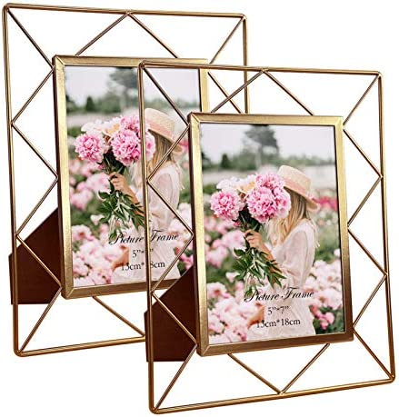 5x7 Metal Picture Frames for Tabletop or Wall Mounting Display 2 Pack 7 x 5 Photo Frame with product image