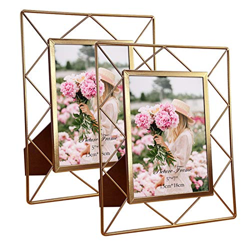5x7 Metal Picture Frames for Tabletop or Wall Mounting Display, 2 Pack 7 x 5 Photo Frame with Glass